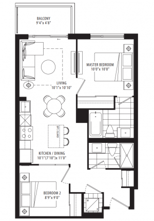 01A - 2 Bedroom - 692 sq.ft.