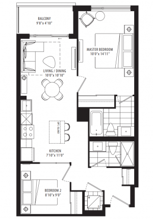 01B - 2 Bedroom - 743 sq.ft.