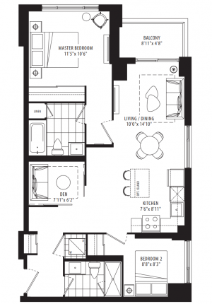 02A - 2 Bedroom + Den - 898 sq.ft.