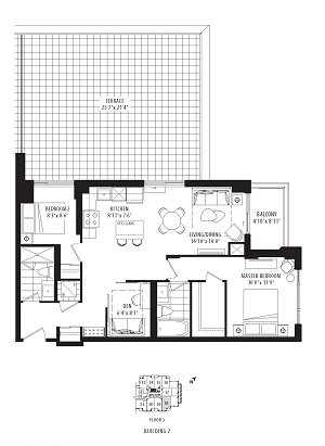 02B2- 2 bedroom + Den- 898 sq.ft.