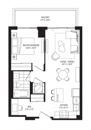 03 - 1 Bedroom + Den - 601 sq.ft.