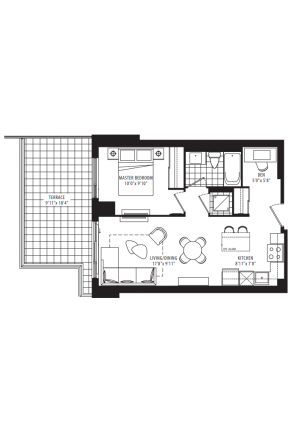 03C - 1 Bedroom + Den - 608 sq.ft.