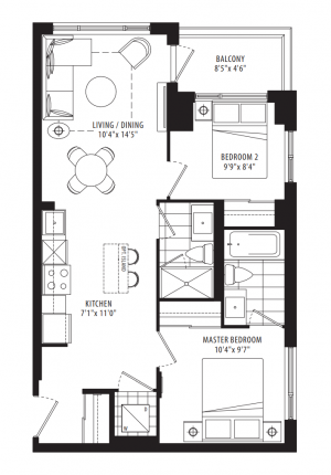 04A - 2 Bedroom - 695 sq.ft.