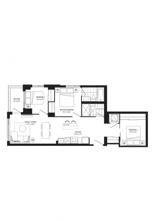 04B - 3 Bedrooms - 885 sq.ft.