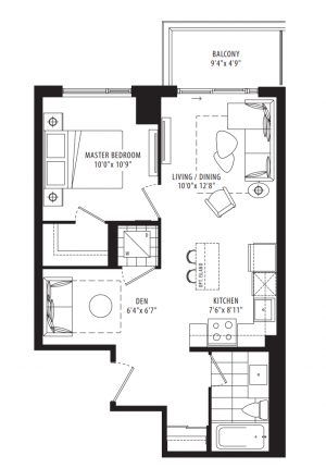 05A - 1 Bedroom + Den - 603 sq.ft.
