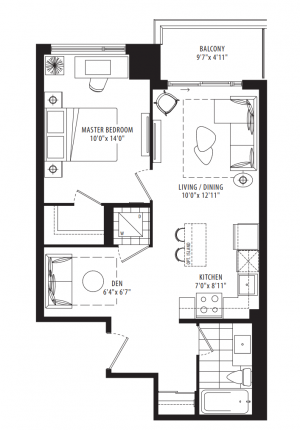 05B - 1 Bedroom + Den - 637 sq.ft.
