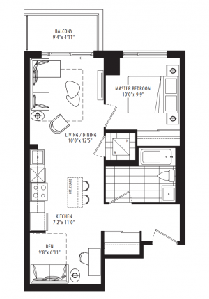 06A - 1 Bedroom + Den - 629 sq.ft.