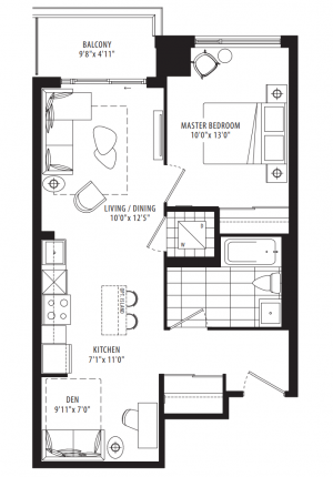 06B - 1 Bedroom + Den - 662 sq.ft.