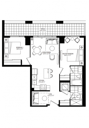 10A - 2 Bedroom + Den - 809 sq.ft.