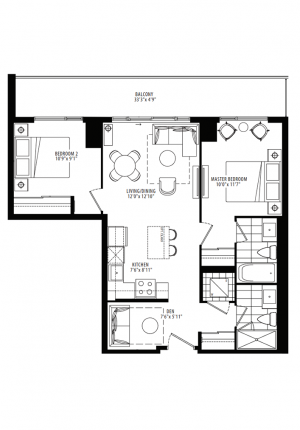 10B - 2 Bedroom + Den - 809 sq.ft.
