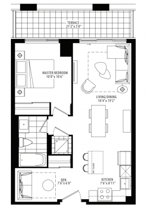 11A - 1 Bedroom + Den - 622 sq.ft.