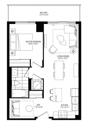 11B - 1 Bedroom + Den - 622 sq.ft.
