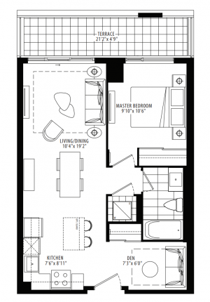 11C - 1 Bedroom + Den - 622 sq.ft.