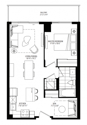 11D - 1 Bedroom + Den - 622 sq.ft.