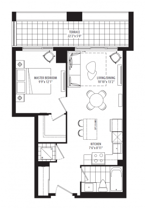12A1 - 1 Bedroom - 537 sq.ft.
