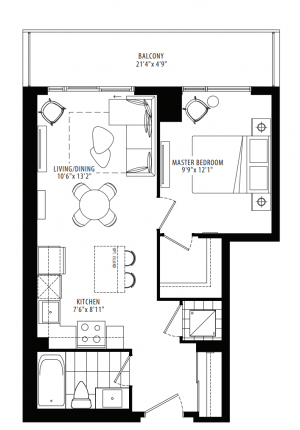12B - 1 Bedroom - 559 sq.ft.