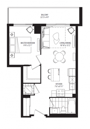 12B1 - 1 Bedroom - 537 sq.ft.