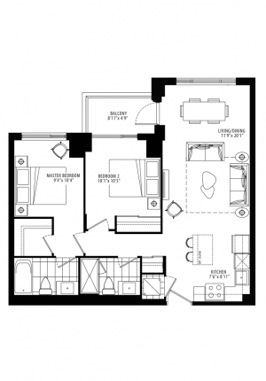 18 - 2 Bedroom - 842 sq.ft.