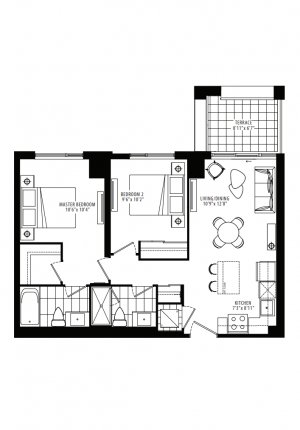 19A1 - 2 Bedroom - 756 sq.ft.