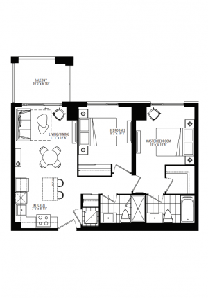19B - 2 Bedroom - 756 sq.ft.