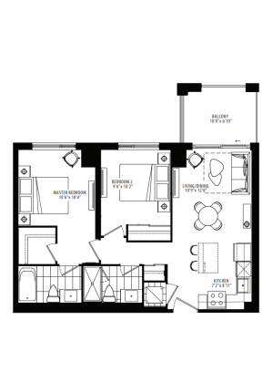 19B1 - 2 Bedroom - 756 sq.ft.