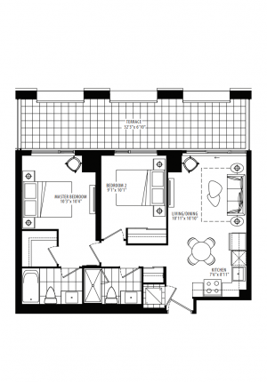 20A - 2 Bedroom - 729 sq.ft.