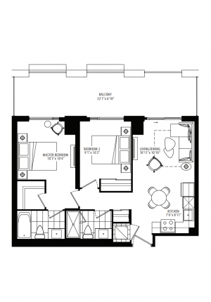20B - 2 Bedroom - 729 sq.ft.