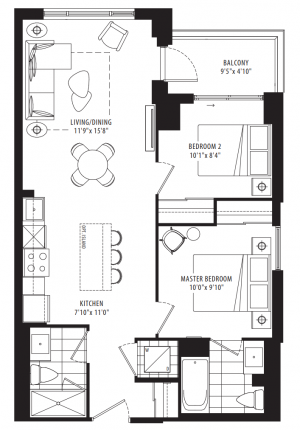 21 - 2 Bedroom - 776 sq.ft.