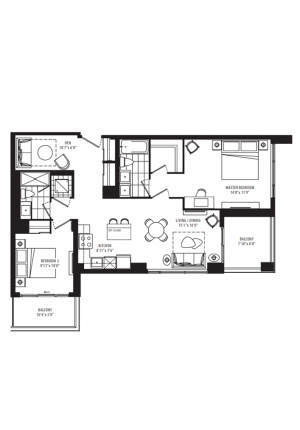 22A - 2 Bedroom + Den - 996 sq.ft.