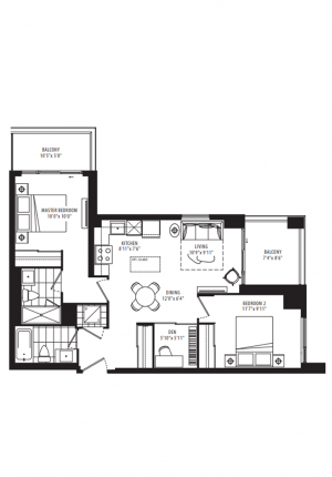 23 - 2 Bedroom + Den - 835 sq.ft.